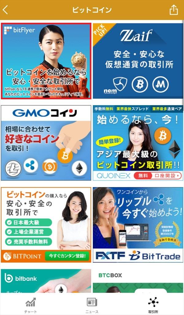 BitNewsアプリ_仮想通貨取引所一覧_ビットコイン