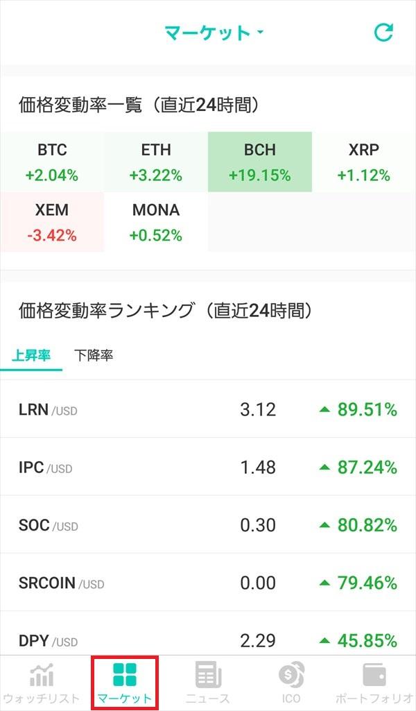 コイン相場アプリ_マーケット_価格変動率一覧