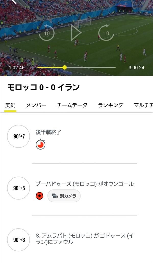 NHK 2018 FIFA ワールドカップアプリ_試合データ