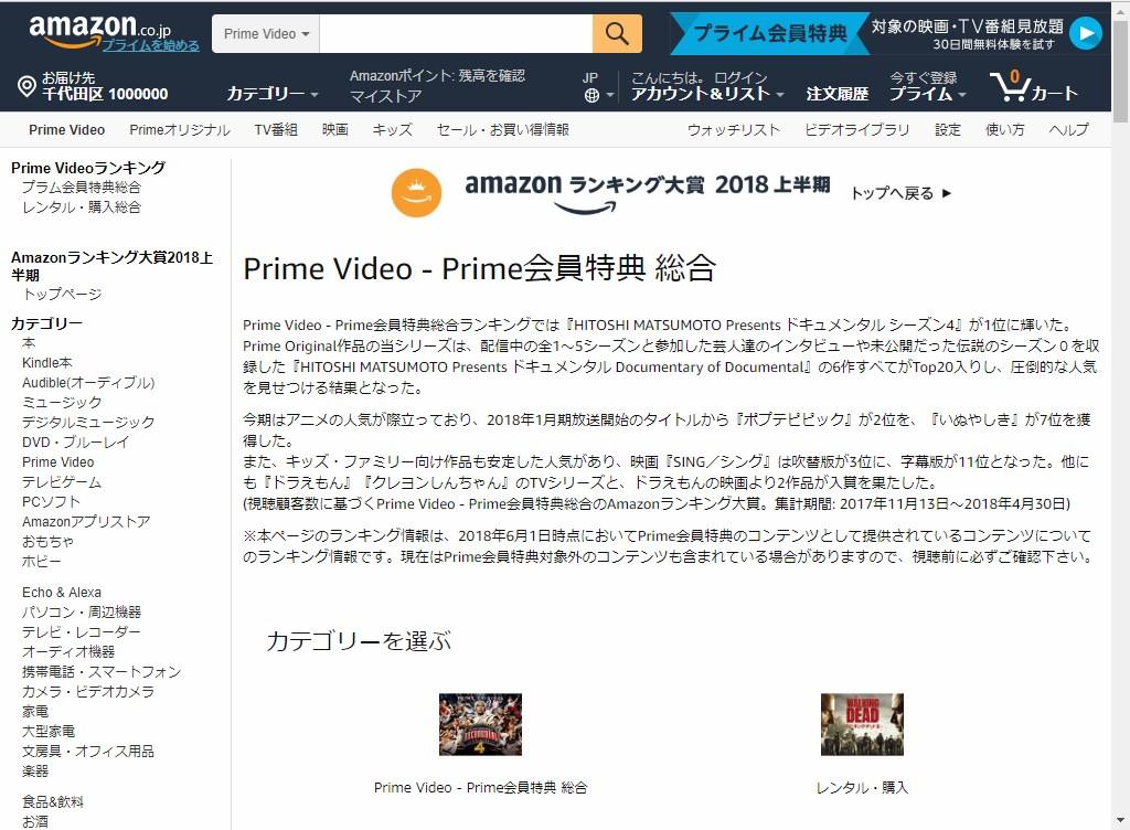 Amazonランキング大賞2018上半期_プライム会員特典_総合