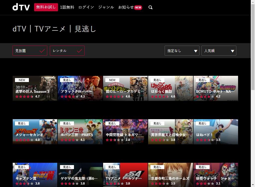 dTV_TVアニメ_見逃し_人気順