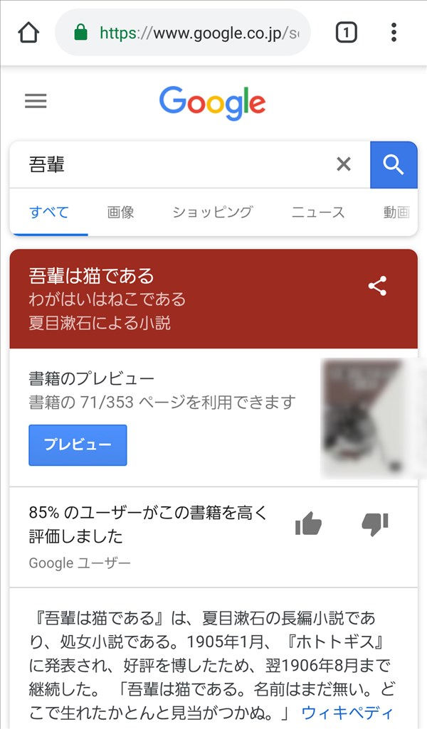 Chrome_Google検索_吾輩
