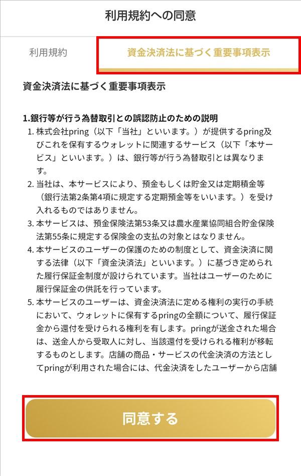 プリン_pring_資金決済法に基づく重要事項表示