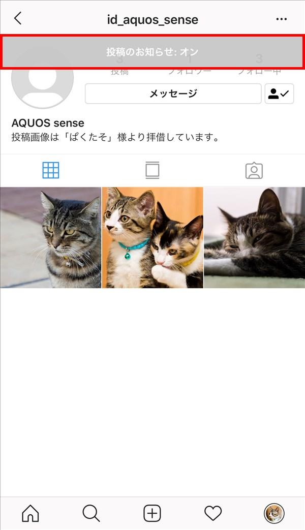 iOS版Instagram_相手ユーザーのプロフィール画面_投稿のお知らせ_オン