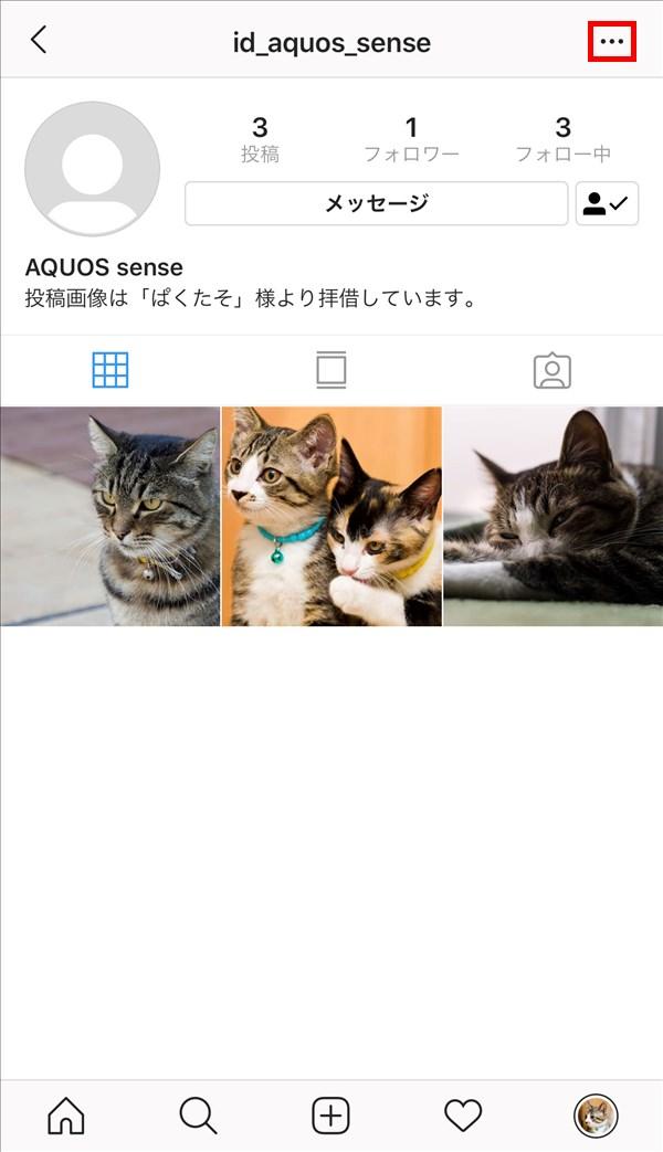 iOS版Instagram_相手ユーザプロフィール_メニュー
