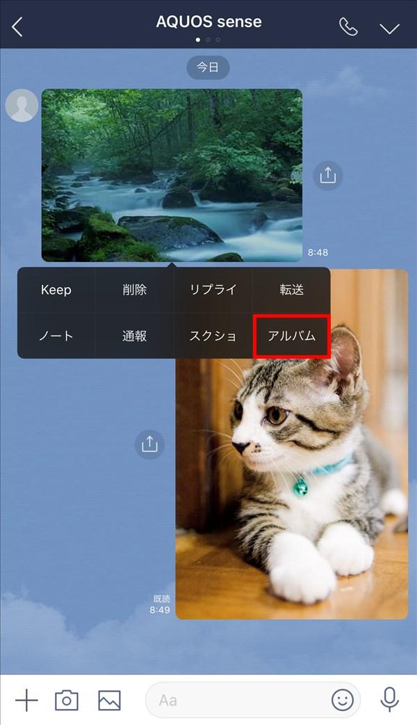 iOS版LINE_トークルーム_写真をアルバムに保存