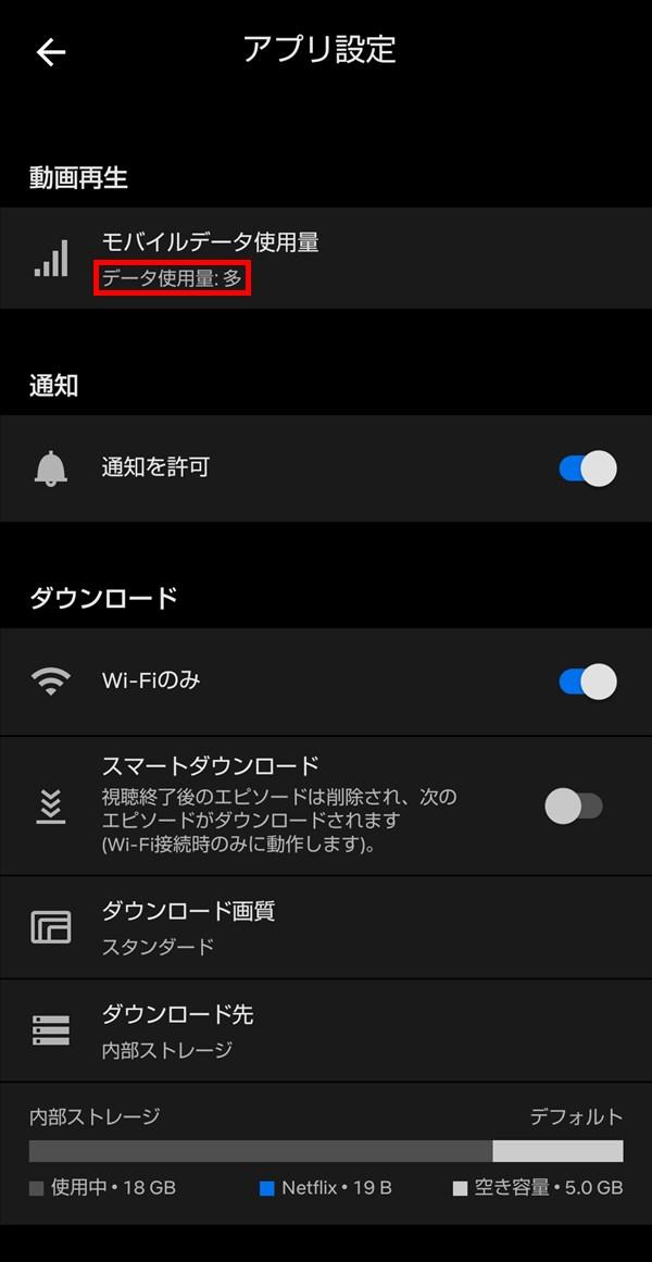 Android版Netflixアプリ_モバイルデータ使用量_多