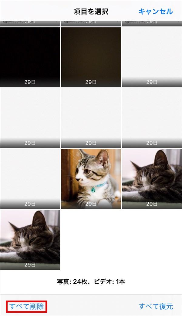 iPhone_写真_アルバム_最近削除した項目