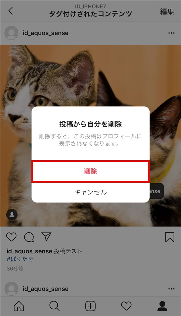 iOS版Instagram_写真_タグ_投稿から自分を削除_ポップアップ