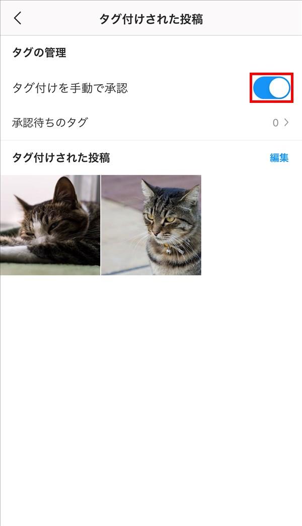 iOS版Instagram_タグ付けを手動で承認