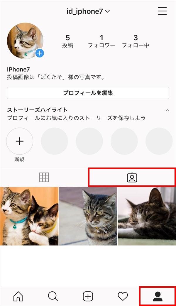 iOS版Instagram_プロフィール_あなたが写っている写真と動画