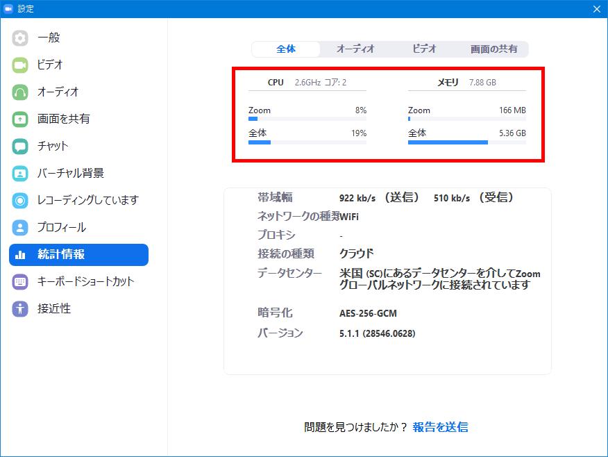 Windows10_Zoom_統計情報_CPU_メモリ