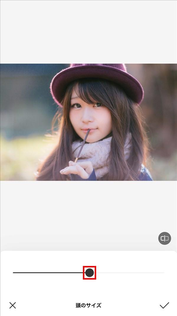 iOS版BeautyPlus_頭のサイズ_50