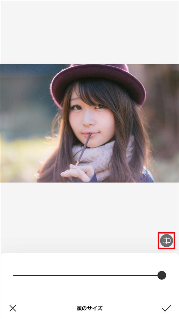 iOS版BeautyPlus_頭のサイズ_オリジナル