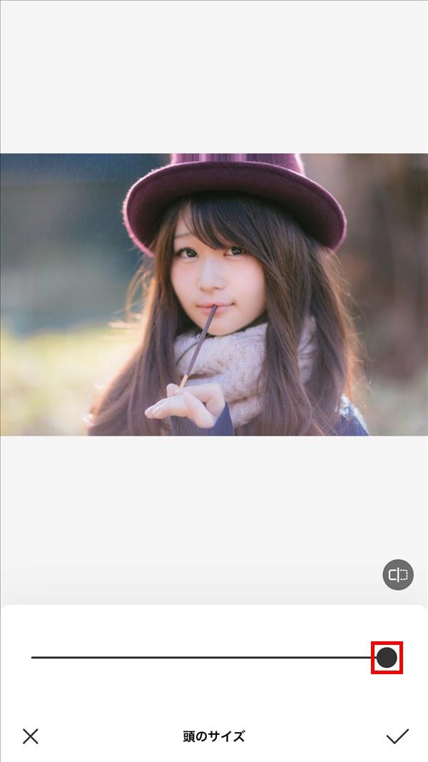 iOS版BeautyPlus_頭のサイズ_100