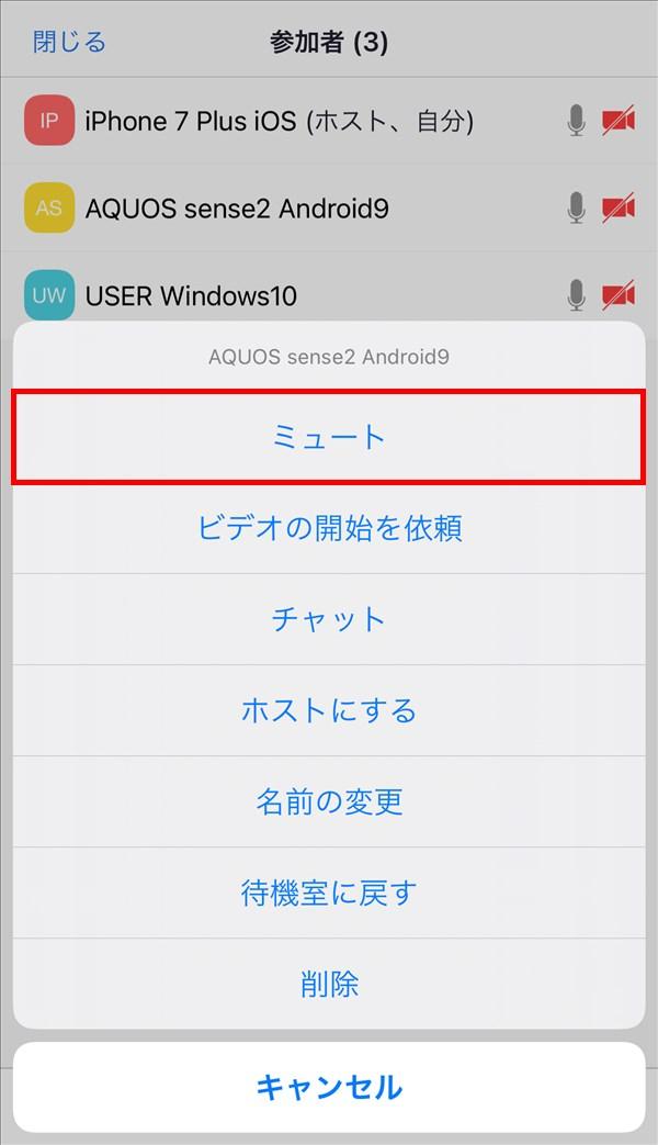 iOS版Zoomアプリ_参加者_メニュー_ミュート