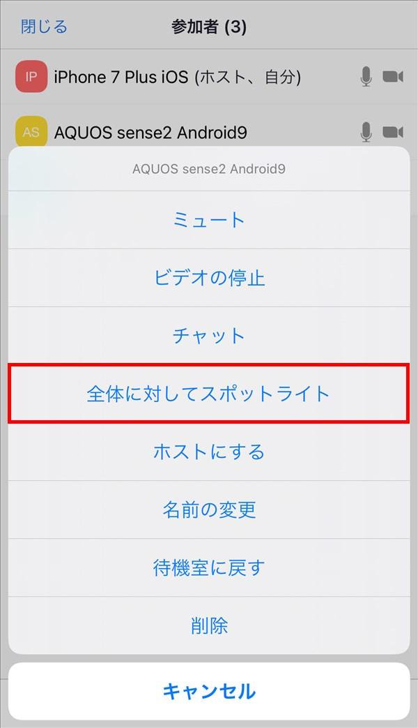 iOS版Zoomアプリ_ ミーティング_全体に対してスポットライト
