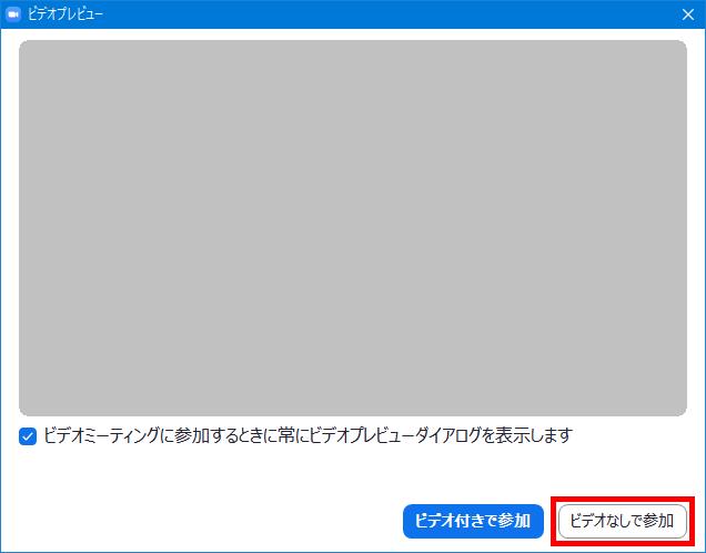 Windows版Zoomアプリ_ミーティングに参加_ビデオプレビュー
