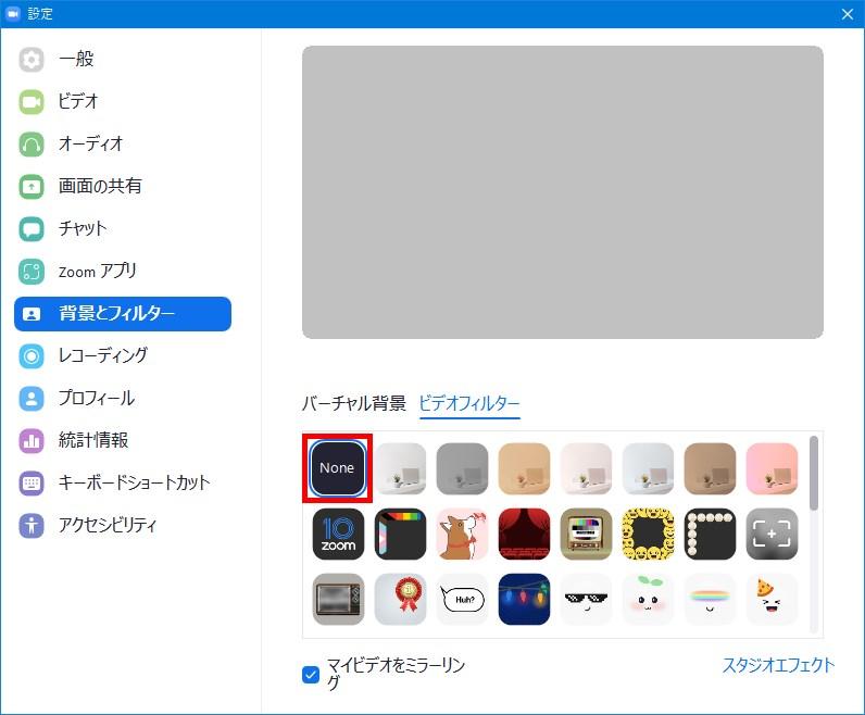 Windows版Zoomアプリ_設定_背景とフィルター_ビデオフィルター_Noneなし